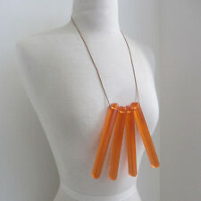 Gorgeous designer orange resin and leather necklace