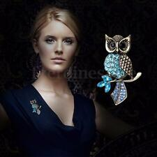 Vintage Alloy Blue Rhinestone Bridal Owl Brooch Pin Crystal Wedding Prom Jewelry
