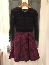 Karen Millen purple/black lace and jacquard prom dress size 8