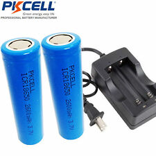 2× ICR 18650 Li-ion Rechargeable Vape Mod Batteries 2600mAh 3.7V & 18650 Charger