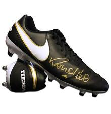 Ronaldo Signed Black Nike Tiempo Boot Autograph Cleat
