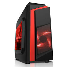 CiT F3 Midi Black Gaming PC Case With Red LED Fans USB3.0 Side Window