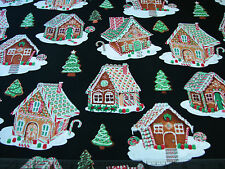 2.6 Yards Quilt Cotton Fabric - Timeless Treasures Holiday Gingerbread Houses Gl