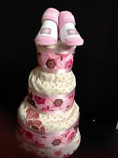 3Tier Red-Pink Floral Shower Gift Ideas Diaper Cake Unique Elegant CenterPieces