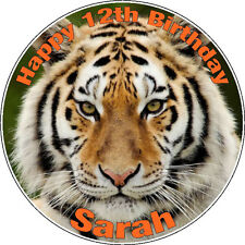"""Personalised Tiger Icing Disc Cake Topper - 7.5"""" Pre-cut Circle"""