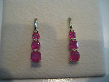 18CT YELLOW GOLD DIAMOND & PINK TOURMALINE DROP EARRINGS NEW ON PROMOTION