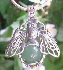 Bee Large Sterling Silver Honeybee with Genuine  Aventurine Pendant