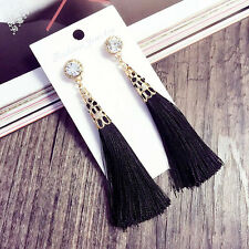 New Arrival Rhinestone Long Tassel Dangle Earrings for Women Thread Fringe Drop