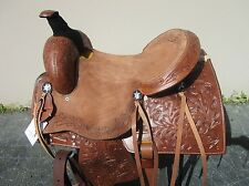16 USED ROPING RANCH REINER PLEASURE ROPER TOOLED LEATHER WESTERN HORSE SADDLE