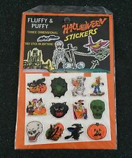 Vintage Fluffy & Puffy Halloween 12 Sticker Pack Witch Pumpkin Skull Ghost Web