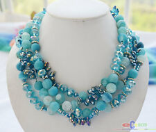 "S1726 4row 19"" blue dull polish agate faceted crystal bead necklace"