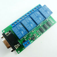 12V 4Ch DB9 RS232 Relay Board SCM PC UART Remote Control Switch Relais Motor CaR