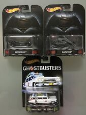 Hot Wheels Real Rider Retro - Batman V Superman : Batmobile , Batwing & Ecto-1