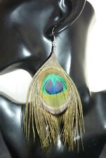 Vintage Style Peacock Feather Long Earrings BNWT
