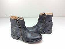 Bed Stu Eiffel Ankle Boots Black Rustic/blue Leather Size 10 M Dual Zippers