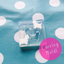 SILICONE EARRING MOLD - Westie Dog West Highand  Resin Jewellery Stud Earrings