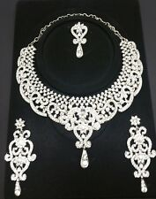 New bollywood necklace with earrings and tikka set costume jewellery silver