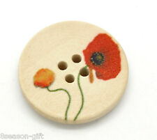 50 Flower Pattern 4 Holes Wood Sewing Buttons 25mm