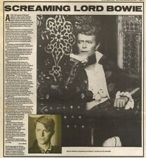22/9/84PN03 ARTICLE DAVID BOWIE VIDEO PROMO SCREAMING LORD BYRON