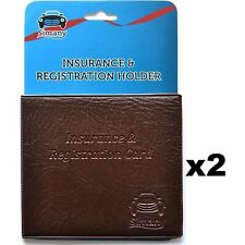 "2 Brown CAR INSURANCE REGISTRATION HOLDER WALLET 5.25""x4.6""Embossed Faux-Leather"