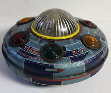 Vintage INDIA battery operated Tin toy UFO FLYING SAUCER X-7 TINA TOYS RARE