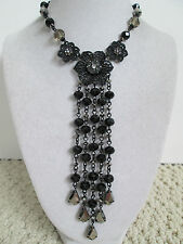 NWT Auth Betsey Johnson Blackout Black Floral Rhinestone Bead Tassel Necklace