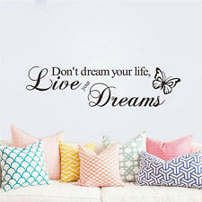 Live Your Dreams PVC Art Decal DIY Decors Quote Homes Wall Sticker Removable