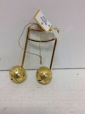 Christmas antique Gold musical sixteenth notes ornament jingle  bells musician