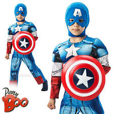Deluxe Captain America + Shield Age 5-6 Boys Fancy Dress Avengers Kids Costume