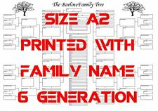 A2 Family Tree Chart With Printed Family Name & Six Generations