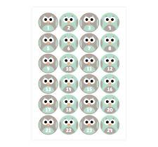 Advents-Aufkleber 'Eule' mint - Sticker für den Adventskalender
