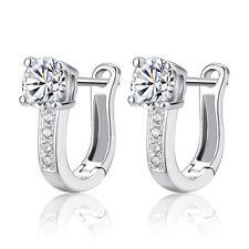 Fashion Lady 925 Sterling Silver Swarovski Zircon Crystal Ear Clip Hoop Earrings