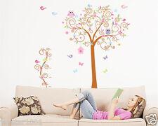 Wall stickers colorful arbres, joli oiseaux autocollants muraux chouettes et enfants chambre