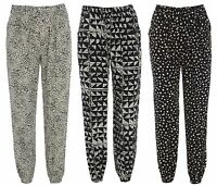NEW LADIES PRINTED WOMENS HAREM PANTS CUFFED LEGGINGS POCKET TROUSERS SIZE 8-14