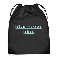 EVERYBODY LIES Black Drawstring Bag with Sky Blue Print school gym NEW
