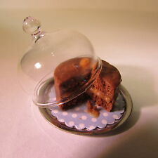 TOFFEE CAKE on Plate ~ with GLASS DOME ~ Doll House Miniature Food ~ 1/12 scale