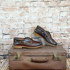 Mens Vintage Brown Leather Timberland Lug Moccasin Boat Shoes UK 10