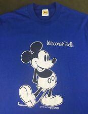 True Vintage 80s 90s Walt Disney Mickey Mouse Wisconsin Dells Blue T-Shirt XL