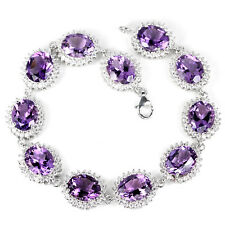Sterling Silver 925 Genuine Natural Rich Purple Amethyst Bracelet 7 Inches