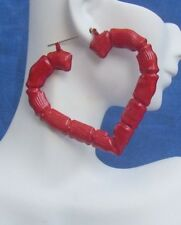 Lg RED Heart  BAMBOO Earrings  Valentines Day Old School Metal