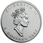 1997 1 oz Silver Canadian Maple Leaf - Lowest mintage of only 100,970 coins!