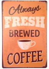 RETRO METAL WALL SIGN TIN PLAQUE VINTAGE SHABBY CHIC COFFEE KITCHEN DINER USA