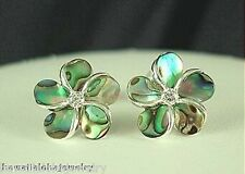 12mm Solid Sterling Silver Paua Abalone Shell Hawaiian Plumeria CZ Stud Earrings
