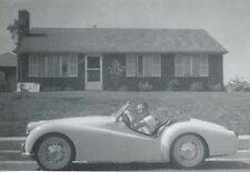 Young Man in Triumph Car TR2 Long Door * 1950s Original Real Photo * Sports Rare