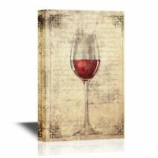 wall26 - Canvas Wall Art -A Glass of Red Wine on Vintage Letter Background-16x24