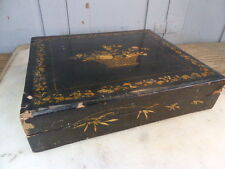 Antique black wooden lacquered decorative trinket box