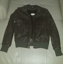 Verducci Brown Leather Vintage 80's Bomber Style Coat Jacket Size 36 Small Lined