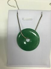 Chinese Style Gift Vintage Green Burma Jade Necklace Sterling Silver (JP63)