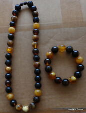 set of 2 Marvelous BALTIC multicolor AMBER  necklace  ROUND beads  & bracelet