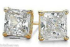 AAA Tiny 3mm PRINCESS CZ Solid 14K Yellow Gold Stud Earrings NEW 1/3ct tw